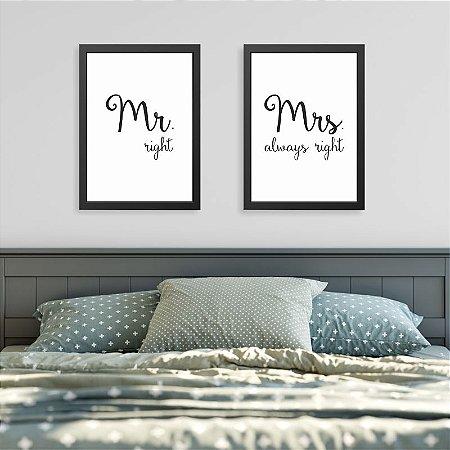 Quadros Quarto Casal - Mr. right e Mrs. always right