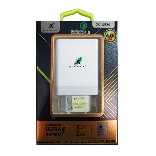 FONTE CARREGADOR 36W 4.0A USB + USB-C X-CELL XC-UR26