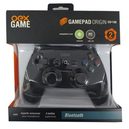 CONTROLE GAMER BLUETOOTH GAMEPAD ORIGIN P/ ANDROID/PC OEX GD100