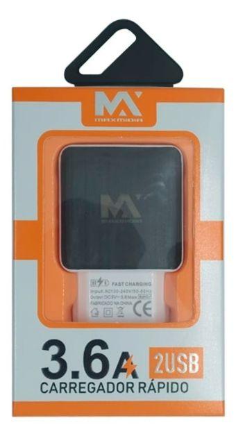 FONTE CARREGADOR COM 2 USB 5V 3.6A MAXMIDIA MAX-CAR109