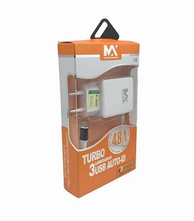 CARREGADOR TURBO 4.8A MICRO USB V8 + 3 SAIDAS USB MAXMIDIA MAX-CAR105