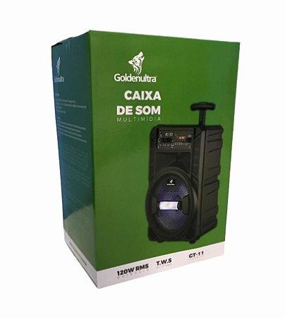 CAIXA DE SOM MULTIMIDIA TWS 120W RMS - FM/ TF/ USB/ AUX/ BLUETOOTH/ MIC  - GOLDENULTRA GT-11