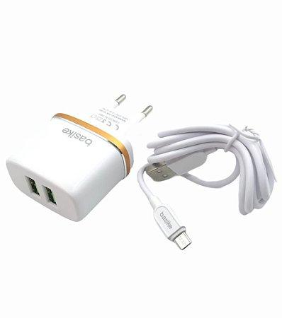 CARREGADOR RAPIDO 2.4A MICRO USB V8 BASIKE BA-CAR0034