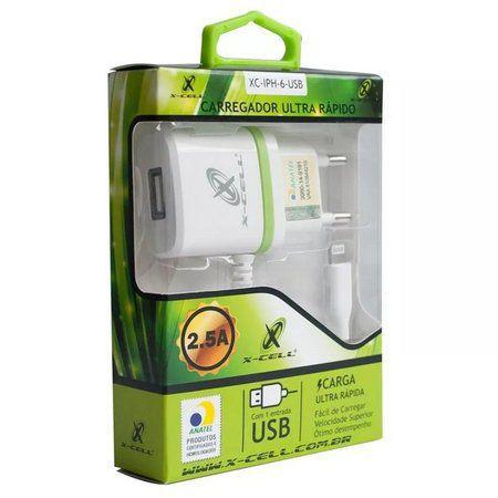 CARREGADOR DE CELULAR LIGHTNING 2.8A C/1 USB X-CELL.MOD.XC-IPH6-USB