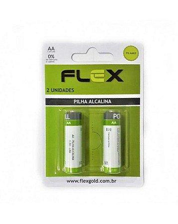 PILHA AA ALCALINA C/2 UNIDADES - MARCA : FLEX MOD. FX-AAK2
