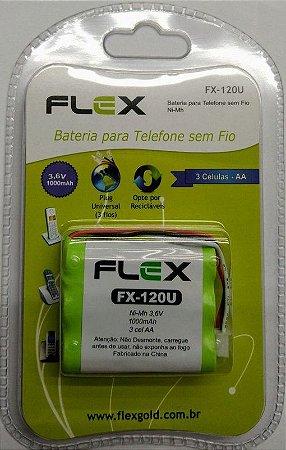 """BATERIA P/ TELEFONE SEM FIO MOD. """"FLEX"""" FX-120U"""