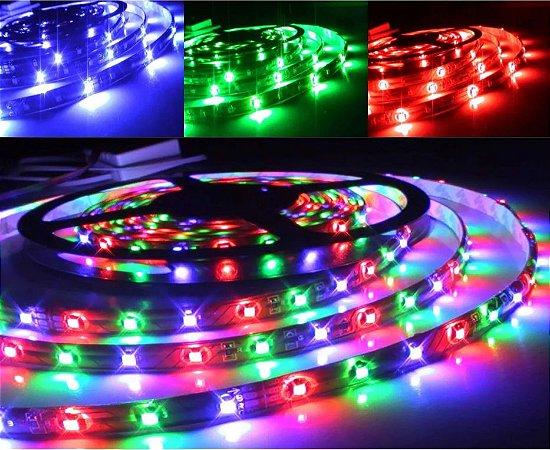 FITA DE LED RGB 5050 C/ CONTROLE E RECEIVER 12V 24KEY 5M FN-136