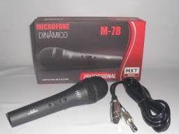 MICROFONE DINAMICO DE METAL M-78 PROFISSIONAL PRETO CABO 3M O.D:5MM