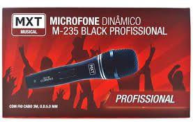 MICROFONE DINAMICO DE METAL M-235 PROFISSIONAL PRETO CABO 3M O.D:5MM