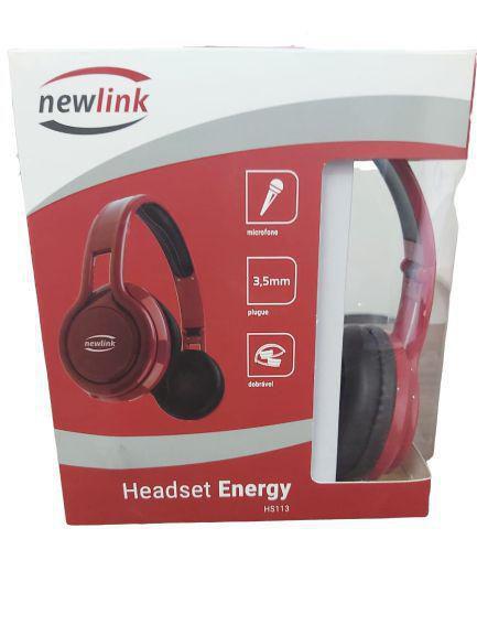 HEADPHONE ENERGY VERMELHO COM MICROFONE P2 NEW LINK HS113