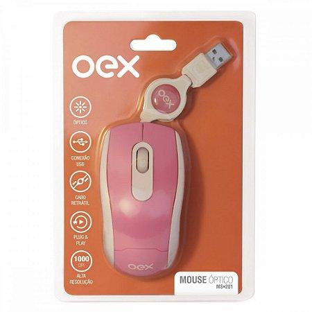MOUSE USB OPTICO ROSA COM CABO RETRÁTIL OEX MS201