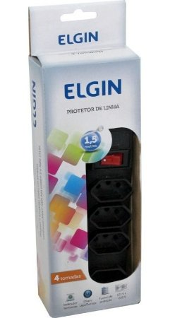 PROTETOR FILTRO DE LINHA 4 TOMADAS 3 PINOS 127V 220V ELGIN CABO 1,5M 46RFL3040000