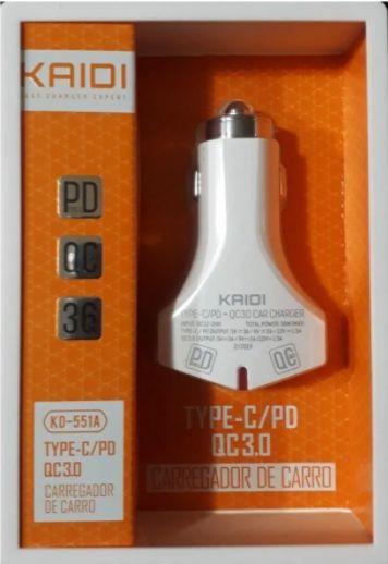 FONTE CARREGADOR VEICULAR 2 FEMEA TYPE C E USB COM CABO USB-V8 KAIDI KD-551S