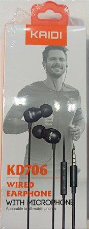 FONE DE OUVIDO P2 COM MICROFONE WIRED EARPHONE KAIDI KD706