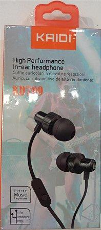 FONE DE OUVIDO P2 HIGH PERFORMANCE INTRA AURICULAR KAIDI KD709