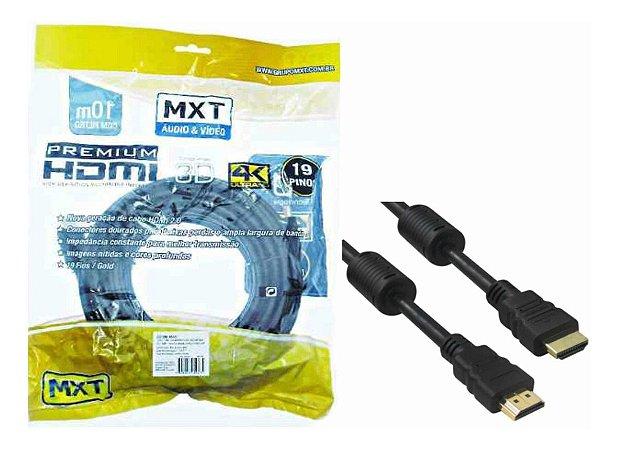 CABO HDMI 4K ULTRA HD PREMIUM 2.0V 30+28AWG C/FILTRO O.D:7MM DOURADO 10M