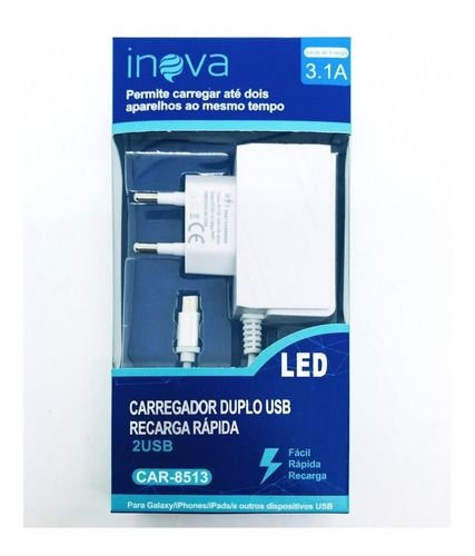 CARREGADOR INOVA LED V8 COM 2 ENTRADA USB 3.1A CAR-8513