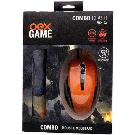 COMBO CLASH MOUSE 3200DPI E MOUSEPAD USB OEX MC103