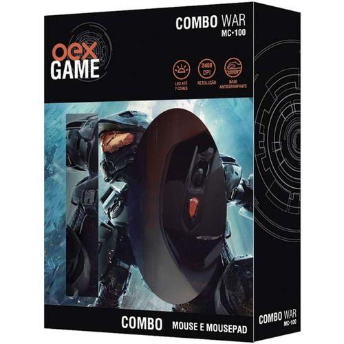 COMBO WAR MOUSE E MOUSEPAD USB OEX MC100