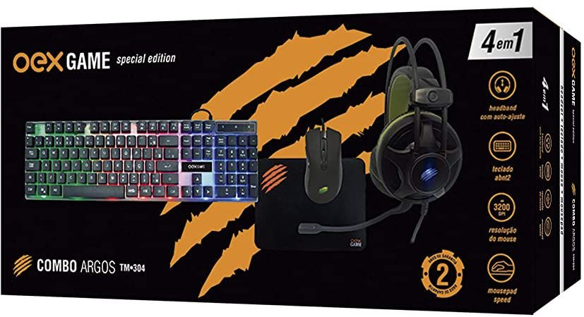 COMBO ARGOS SPECIAL EDITION 4X1 TECLADO MOUSE HEADSET E MOUSEPAD USB OEX GAME TM304
