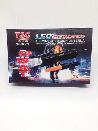 LANTERNA LED DESTACANDO T6  RECARREGÁVEL SWAT TC-A08