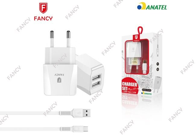 KIT CARREGADOR TOMADA COM 2 USB TURBO E CABO TYPE-C FANCY FJ-01C