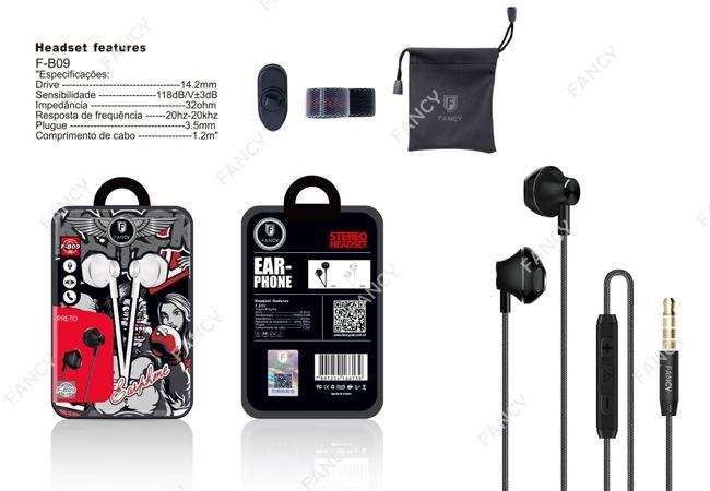 FONE DE OUVIDO EARPHONE P2 COM MICROFONE E CONTROLE DE VOZ FANCY F-B09