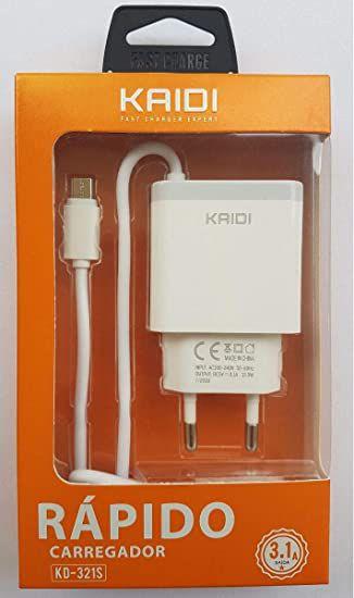 CARREGADOR RAPIDO V8 2 USB 3.1A KAIDI KD-321S