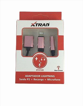 ADAPTADOR LIGHTNING SAIDA P2 RECARGA E MICROFONE XTRAD XT2143