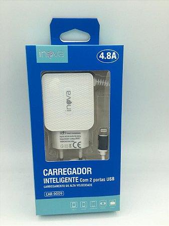 CARREGADOR INTELIGENTE INOVA LIGHTNING 4.8A 2 USB CAR-9009