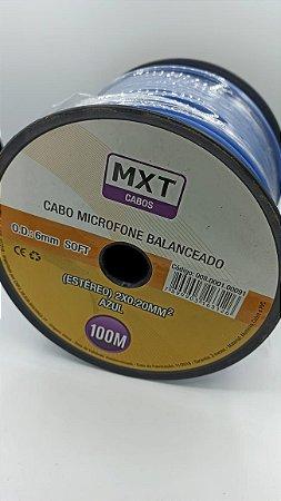 CABO MICROFONE BALANCEADO (ESTEREO) 2X0,20MM OD 6MM AZUL 100M MXT