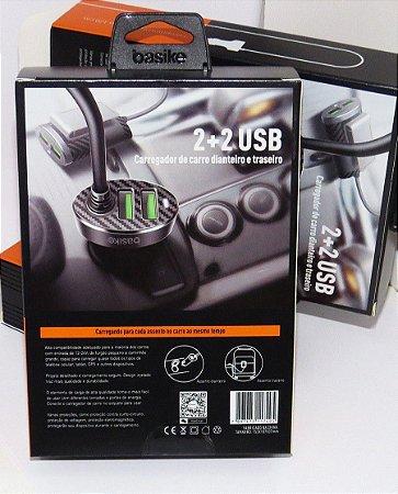 FONTE VEICULAR 2+2 USB 5.1A BASIKE BA-CAR0052