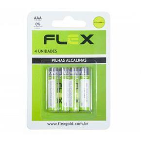 PILHA AAA ALCALINA C/4 UNIDADES -MARCA : FLEX MOD. FX-AAAK4