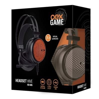 HEADSET HIVE 7.1 VIRTUAL SURROUND 2.2M USB OEX GAME HS405