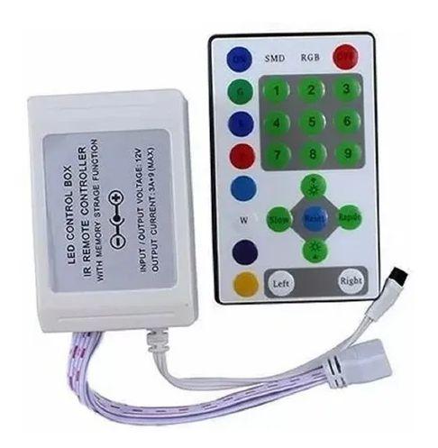 ADAPTADOR COM CONTROLE SEQ 9 CANAIS IR 12-24V 25 TECLAS LED RGB XZHANG
