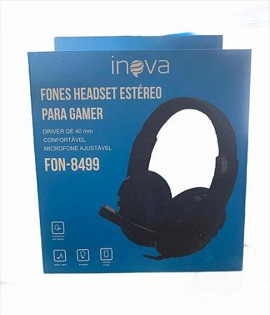 HEADSET ESTÉREO PARA GAMER 2 P2 COM MICROFONE INOVA FON-8499