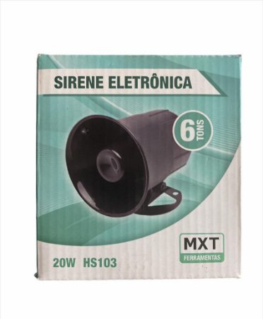 SIRENE ELETRONICA 20W 6 TONS P/AUTO HS103 MXT