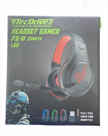HEADSET GAMER PX-10 COMETA PS3 PS4 XBOX ONE P3 E USB TECDRIVE