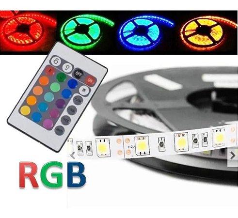 FITA DE LED RGB 5M COM CONTROLE E RECEIVER DURA WELL  12V 3528-RGB