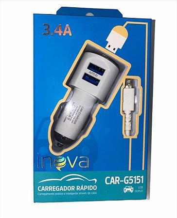 CARREGADOR AUTOMOTIVO V8 3.4A 2USB INOVA CAR-G5151