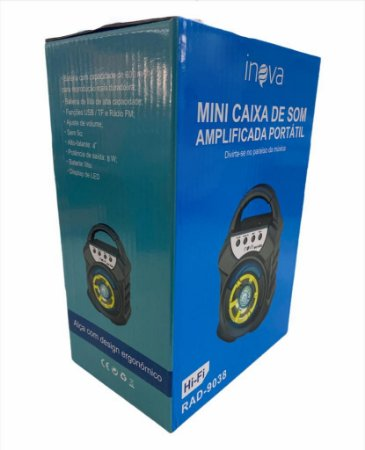 "MINI CAIXA DE SOM 4"" 8W INOVA RAD-9038"