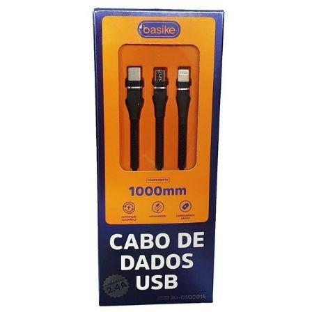 CABO DE DADOS BASIKE 1M 2.4A ENTRADA V8 TYPE-C LIGHTNING BA-CBO9935