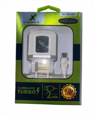 CARREGADOR TURBO V8 2 USB 4.0A 20W PREMIUM FLEX XC-V8-UR7