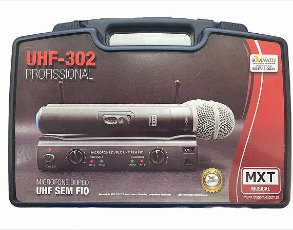 MICROFONE DUPLO UHF SEM FIO COM MALETA UHF-302 685.8MHZ/690.3MHZ