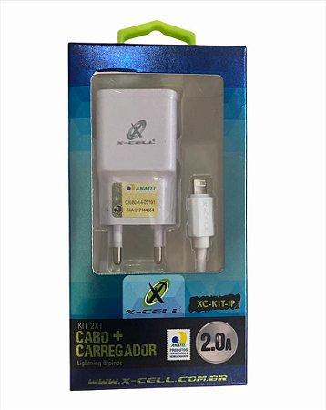 CARREGADOR KIT 2X1 LIGHTNING 8 PINOS C-CELL XC-KIT-IP