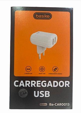 CARREGADOR TURBO BASIKE 5V 2.4A V8 2 USB BA-CAR0013