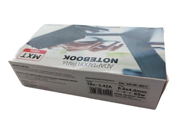FONTE PARA NOTEBOOK/TV 19V, 3.42A, 65W (PLUG: 6.0*4.0MM) COMPATIVEL SAM E LG (SEM CABO FORÇA)