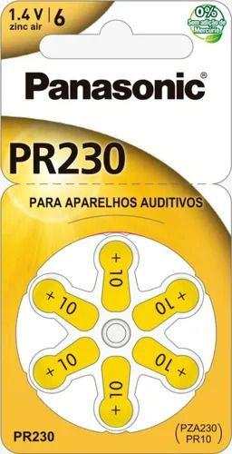 BATERIA PANASONIC AUDITIVA ZINC AIR C/ 6  ( 1,4V / 130MAH ) (00285) PR230 PZA312 PR41