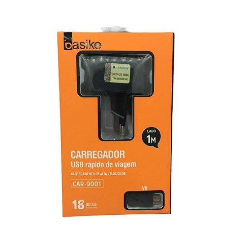 CARREGADOR USB RÁPIDO DE VIAGEM V8 BASIKE CAR-9001