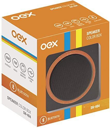 CAIXA DE SOM 10W SPEAKER COLOR BOX LARANJA OEX SK404